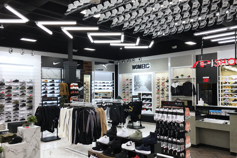 Interior of Shoe Palace retail store